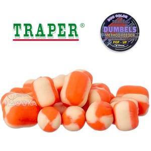 Плуващи дъмбели Traper Dumpels Pop-Up Method Feeder - Вердевас и Бял червей
