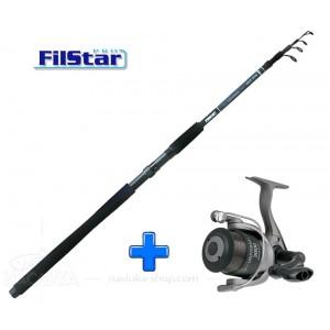 Комплект Въдица + Макара за спининг риболов FilStar Universal Tele Spin - 2.40м
